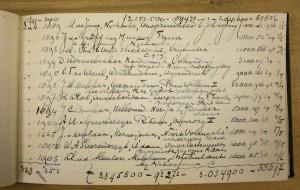 M. de Jong als deelgenoot nummer 1889 ingeschreven bij de Friesche Onderlinge Verzekering van Schepen met een waarde voor het schip van f 2000,-. Collectie Fries Scheepvaart Museum.