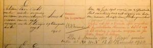 Scheepsmeting S448N, de eerste meting uit 1903 (rechter pagina). Collectie Maritiem Museum Rotterdam.