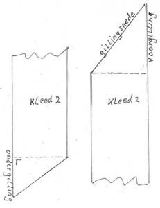 Kleed of baan met gillingen voor en onder (schets Theo Leeuwenburgh)